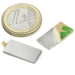 Q-20-10-01-STIC, Block magnet self-adhesive 20 x 10 x 1 mm, neodymium, N35, nickel-plated