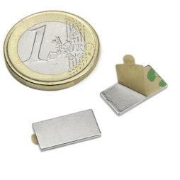 Q-15-08-01-STIC, Block magnet self-adhesive 15 x 8 x 1 mm, neodymium, N35, nickel-plated