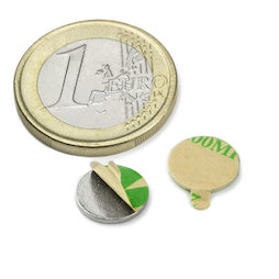 S-10-01-STIC, Disc magnet self-adhesive Ø 10 mm, height 1 mm, neodymium, N35, nickel-plated