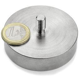 GTN-60, Pot magnet with threaded stem Ø 60 mm, thread M8, strength approx. 130 kg