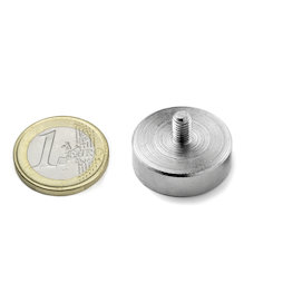 GTN-25, Pot magnet with threaded stem Ø 25 mm, thread M5, strength approx. 25 kg