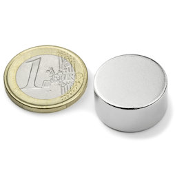 S-20-10-N, Disc magnet Ø 20 mm, height 10 mm, neodymium, N42, nickel-plated