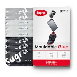 SUG-08/mixed3, Sugru Set of 8, mouldable glue, 3x black, 3x white, 2x grey, packages of 5 g each