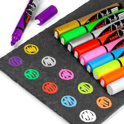 BA-021, Chalk Marker, for magnetic glass board and whiteboards, in different colours, set of 4
