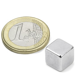 W-10-N, Cube magnet 10 mm, neodymium, N42, nickel-plated